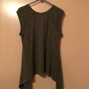 Asymmetrical olive green sleeveless knit sweater.